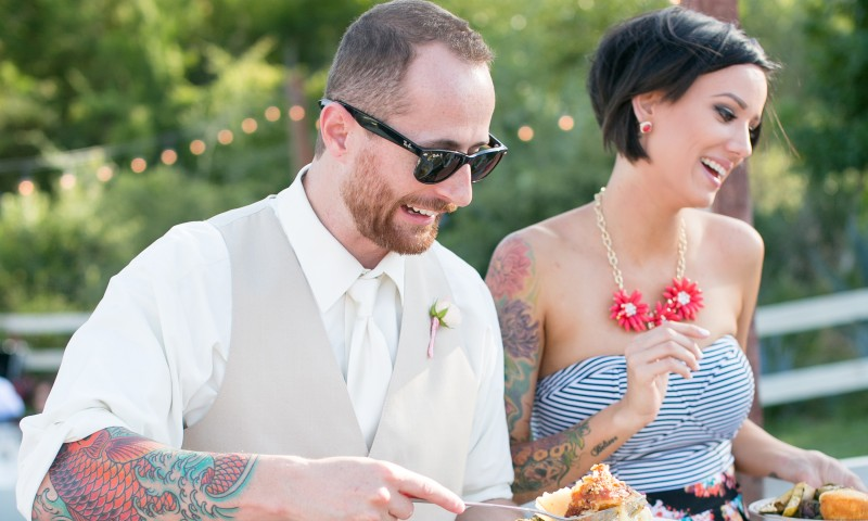 Couple enjoying wedding catering by Canyon Catering
